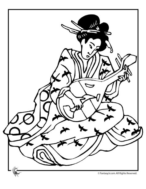 Geisha Adult Coloring Pages Pinterest Geisha Coloring Pages