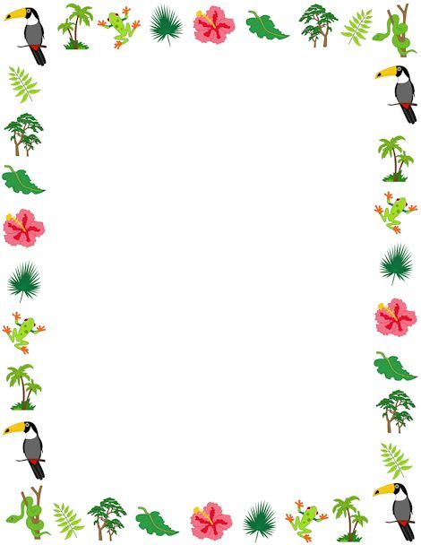 printable jungle paper rainforest borders printable clipart best