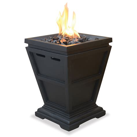 small firepit uniflame propane outdoor fireplace column small glt1343sp