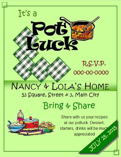 Free Templates For Potluck Flyers | potluck flyer template free printable loving printable