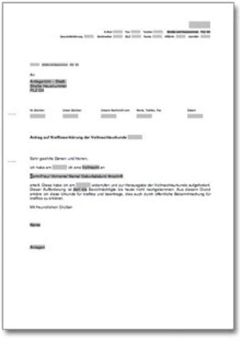 Musterbriefe Vollmacht Antrag Auf Kraftloserkl 228 Rung Einer Vollmacht