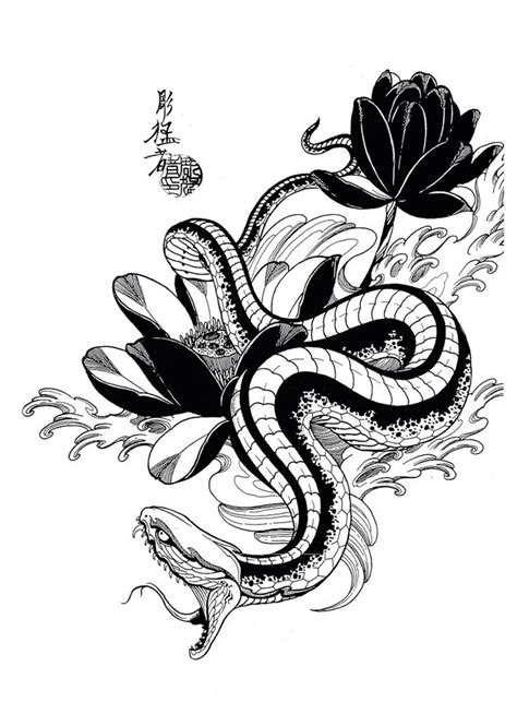 asian snake tattoo designs black and white hissing snake and lotus flowers