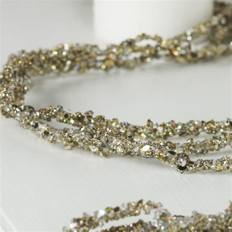 platinum sparkling bead and glitter garland christmas