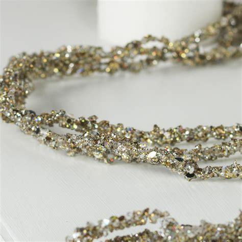 platinum sparkling bead and glitter garland christmas