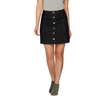 c stretch denim skirt with status buttons page 1