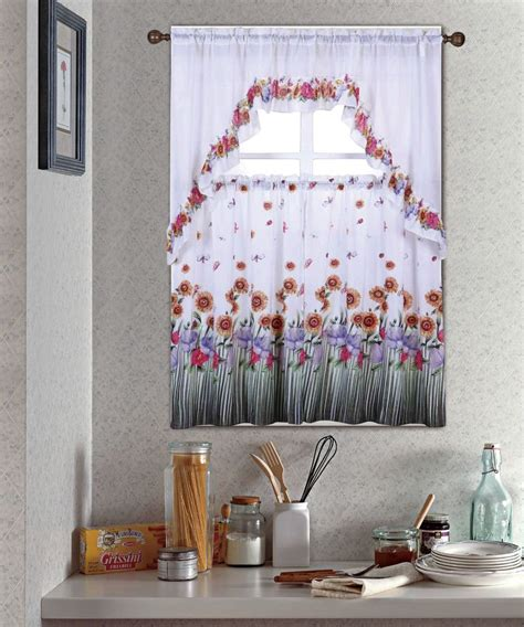 kitchen curtain set blossom complete tier swag set kitchen curtain set