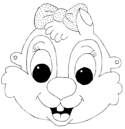 kids face masks template for coloring squirrel girl
