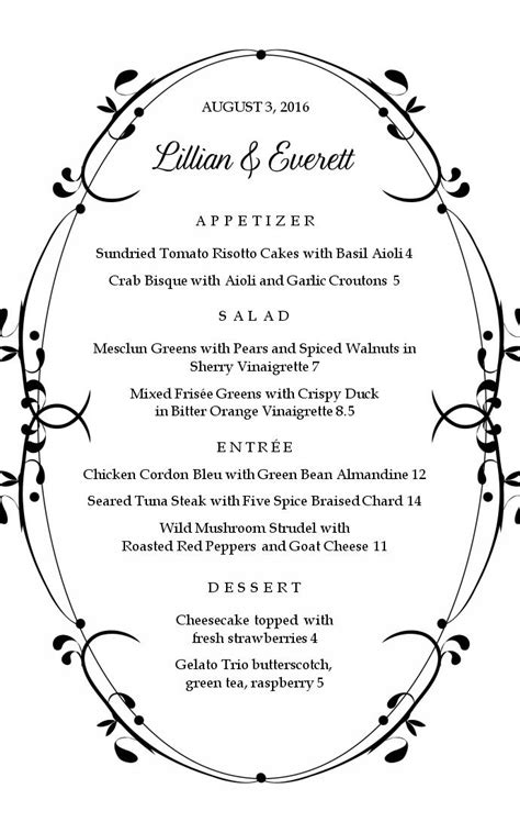 formal menu template dinner event menu musthavemenus
