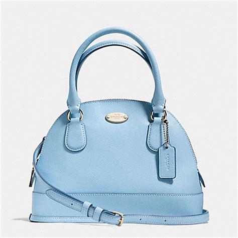 light blue coach wallet coach f34090 mini cora domed satchel in crossgrain