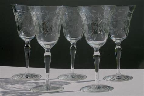 etched barware vintage seneca glass wine glasses or water goblets etched wheel cut daisy optic pattern