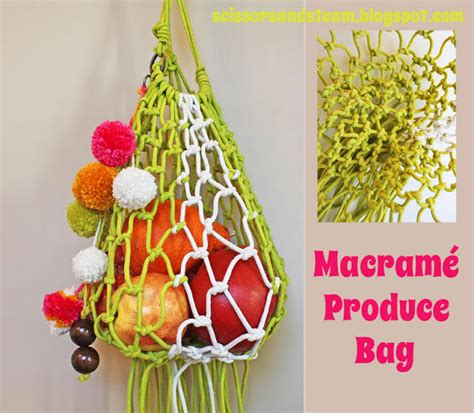 Macrame Bags Tutorials - diy macrame produce bag the refab diaries
