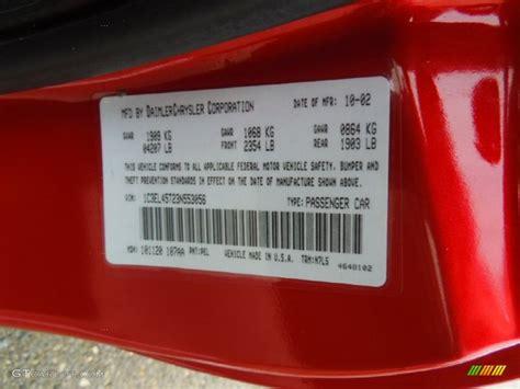 2003 chrysler sebring lx convertible color code photos gtcarlot