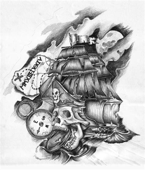 deviantart tattoo designs pirate ship skull design by griffongore on deviantart
