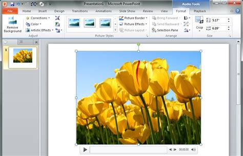 format audio powerpoint 2010 format tab for audio clips in powerpoint 2010 for windows