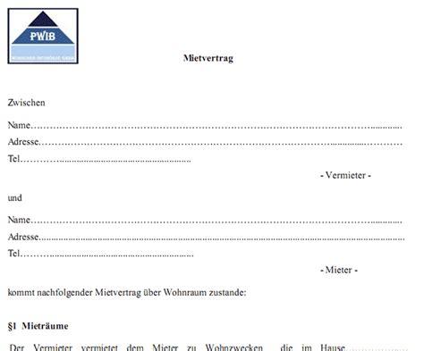 Mietvertrag Muster Wohnung 4827 by Pdf Mietvertrag Kostenlos