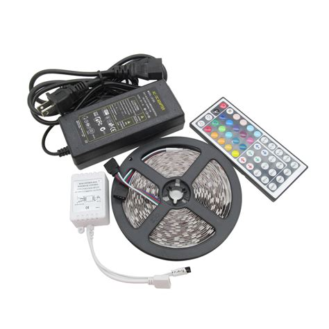 Paket Adaptor Led 5050 Rgb Remote Driver Rgb Besar 5050 smd led 60leds m rgb led strips light 44 key ir remote controller dc 12v