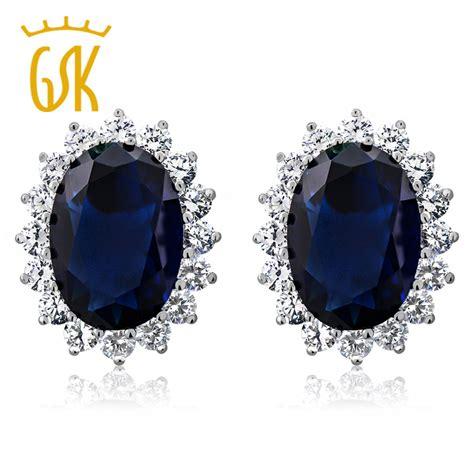 diana s blue stone earrings gemstoneking princess diana earrings 15 00 ct oval created