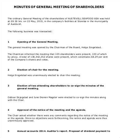 minutes of shareholders meeting template shareholder meeting minutes templates 7 free word pdf