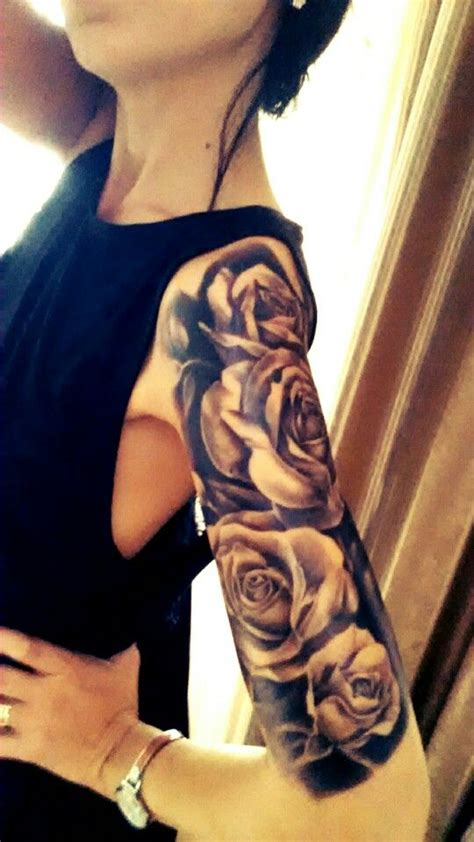 rose bush sleeve tattoo half sleeve black roses