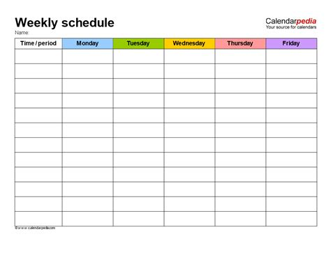 free weekly school schedule template templates at