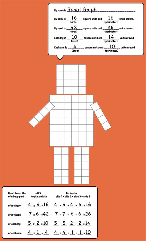 printable area paper area and perimeter robots robot creativity and students