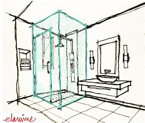 sketch of bathroom design scribblelicious