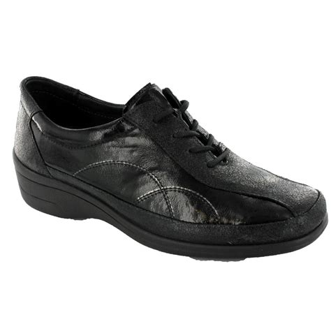 buy rohde women s casual lace up shoe in black leather 9118