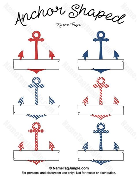 blue card register template free printable anchor shaped name tags with a nautical