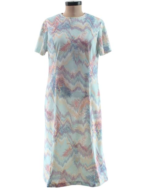 seventies vintage dress 70s fabric label womens aqua