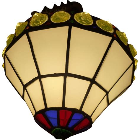 stained glass hanging l leaded stained glass hanging pendant circa 1930 s from mm