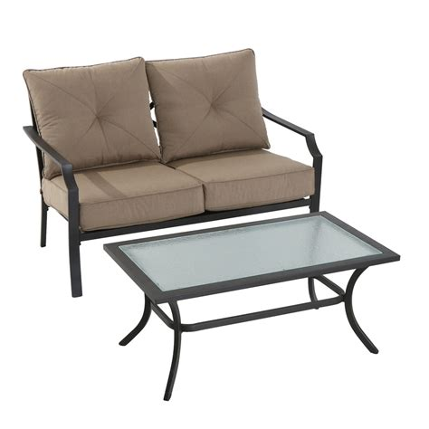 Steel Patio Furniture Shop Garden Treasures Vinehaven 2 Brown Steel Patio Conversation Set With Cushions At