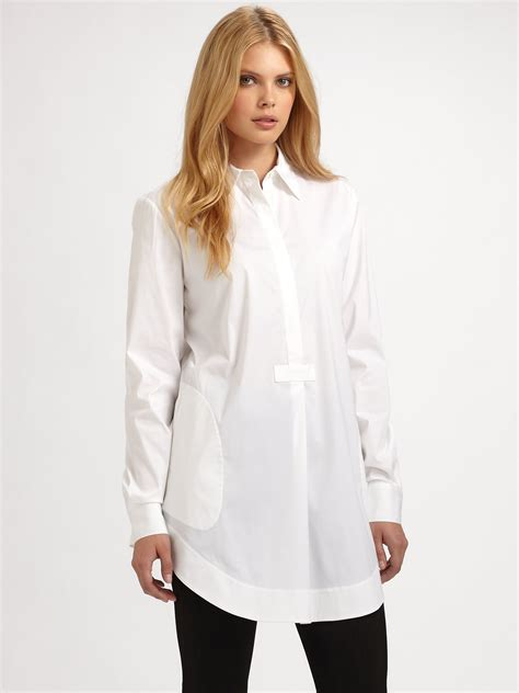 New Pakaianonline Tunic Termurah 1 lyst lafayette 148 new york jaylen tunic blouse in white
