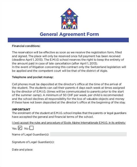 agreement form format 8 general agreement sle forms free sle exle