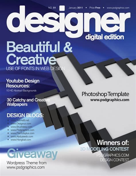 blue magazine cover design psd print template psdgraphics