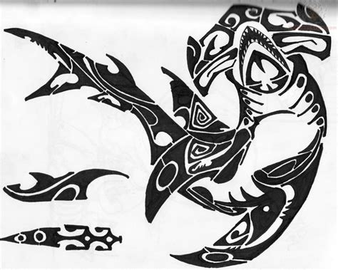 tribal hammerhead shark tattoo tribal polynesian hammerhead shark picture 187