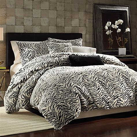 white tiger bed set white tiger faux fur duvet cover set bed bath beyond