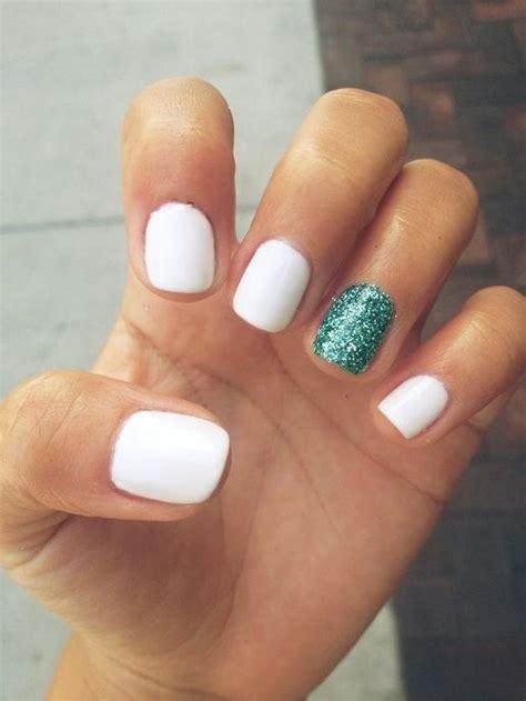 white amp turquoise nails