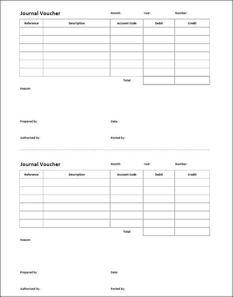 template of journal voucher journal voucher template entry bookkeeping