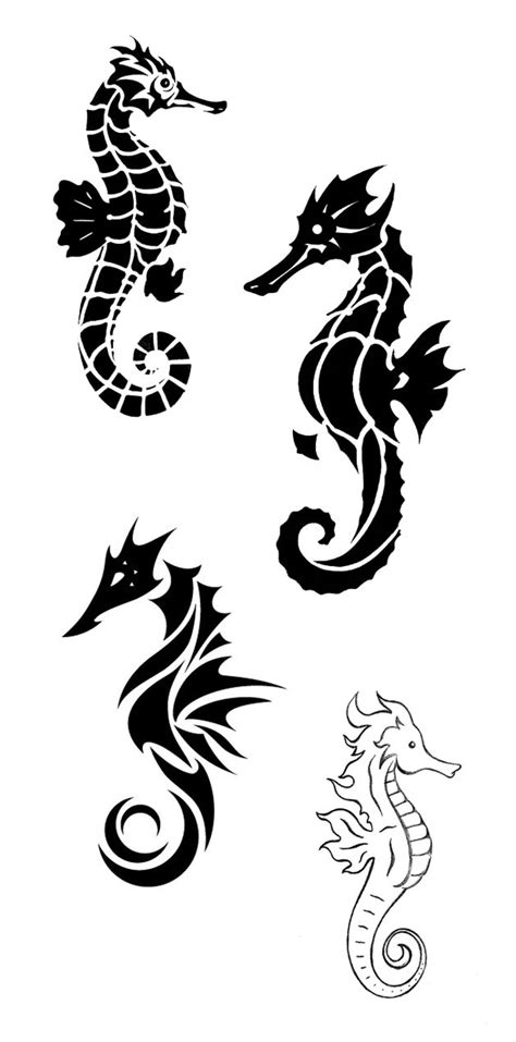 tribal seahorse tattoos 60 sea creature sea designs and pictures