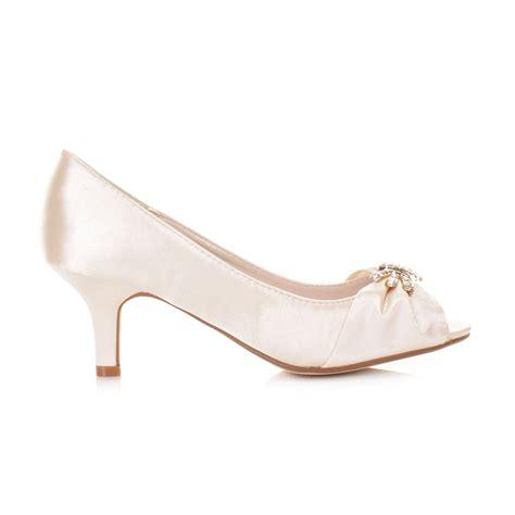 Ivory Wedding Shoes Low Heel by Low Heel Ivory Satin Peep Toe Kitten Bridal Bridesmaid