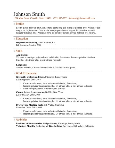 Exles Resumes by My Resume Templates