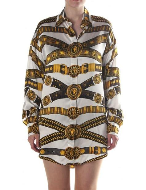 versus versace border pattern t shirt belt pattern women s silk shirt white
