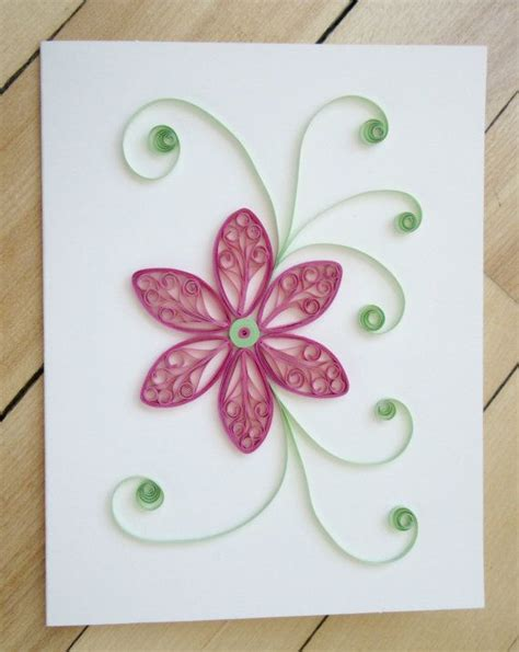 Paper Flowers For Card - quilling flower card paper quilled floral card pink