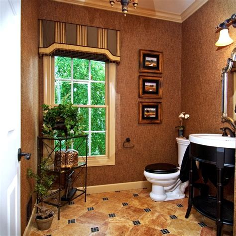 window decor powder room powder room w marble and glass accented floors brown black