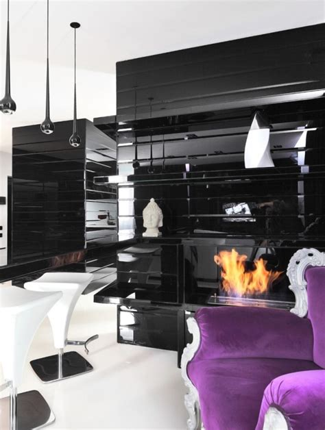 black and purple room black and white graphic decor