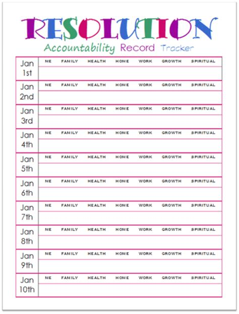 new years resolutions accountability record tracker printable