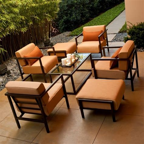 Patio Furniture Conversation Sets Woodard Salona Patio Conversation Set By Joe Ruggiero Seats 4 Contemporary Patio Furniture