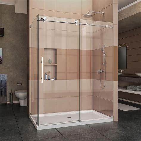 Frameless Corner Shower Doors Dreamline Enigma X 60 375 In X 76 In Frameless Corner Sliding Shower Enclosure In Polished