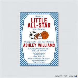 sports themed baby shower invitation printable or printed