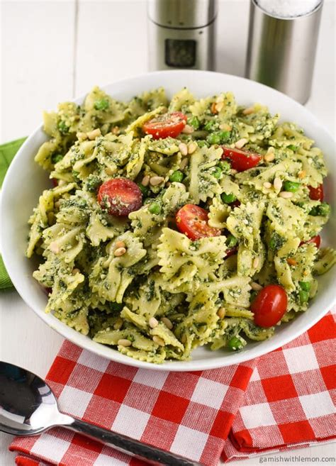 pesto salad pesto pasta salad with peas garnish with lemon